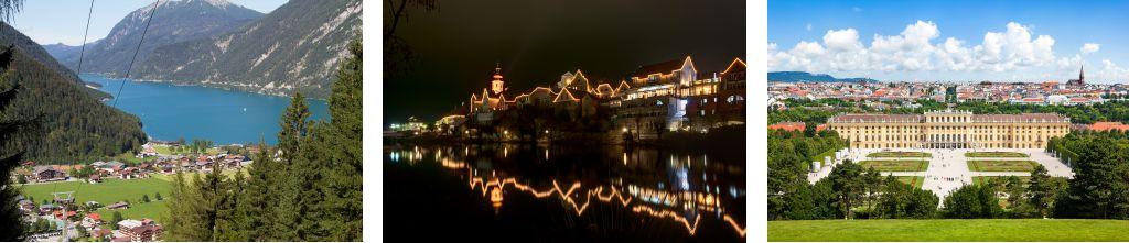 Bild zeigt: Blick auf die Gemeinde Achenkirch und Stadt Frohnleiten bei Nacht und Wien, Schloss Schönbrunn