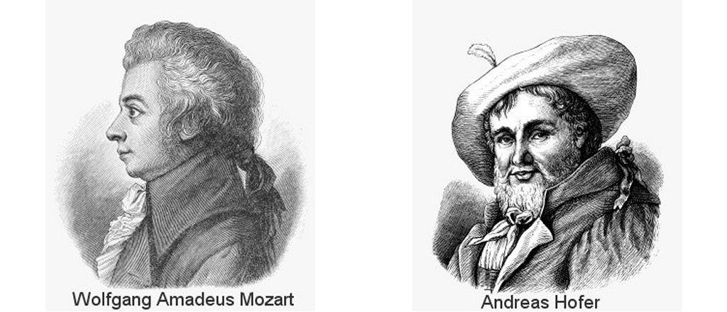 Tiroler Freiheitskämpfer Andreas Hofer und Komponist Wolfgang Amadeus Mozart