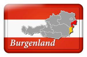 Österreichfahne mit Landkarte Burgenland und Landesfarben