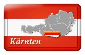 Österreichfahne mit Landkarte Kärnten und Landesfarben