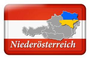 Österreichbutton mit Landkarte Niederösterreich und Landesfarben