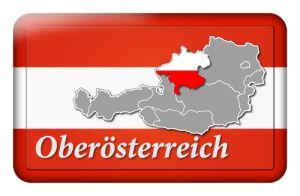 Österreichbutton mit Landkarte Oberösterreich und Landesfarben