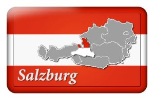 Österreichbutton mit Landkarte Salzburg und Landesfarben
