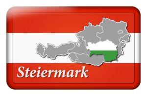 Österreichbutton mit Landkarte Steiermark und Landesfarben