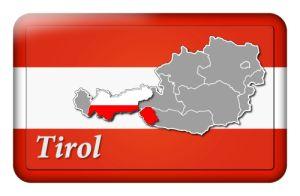 Österreichbutton mit Landkarte Tirol und Landesfarben