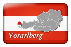Österreichbutton mit Landkarte Vorarlberg und Landesfarben