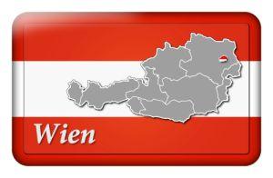 Österreichbutton mit Landkarte Wien und Landesfarben