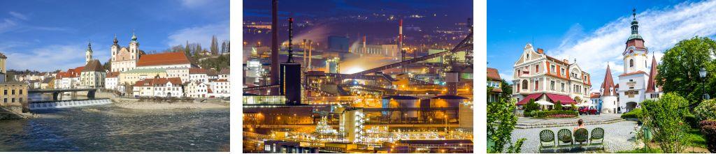 Bild zeigt: Blick auf die Stadt Steyr und Linz - Industriegebiet bei Nacht und Steiner Tor – Wahrzeichen der Altstadt Krems