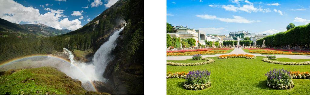 Bild zeigt: Krimmler Wasserfälle und Garten Schloss Mirabell