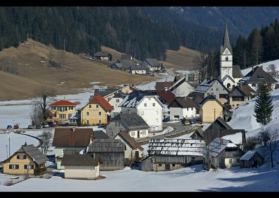 Kärnten - Zell-Pfarre - Ortsansicht im Winter