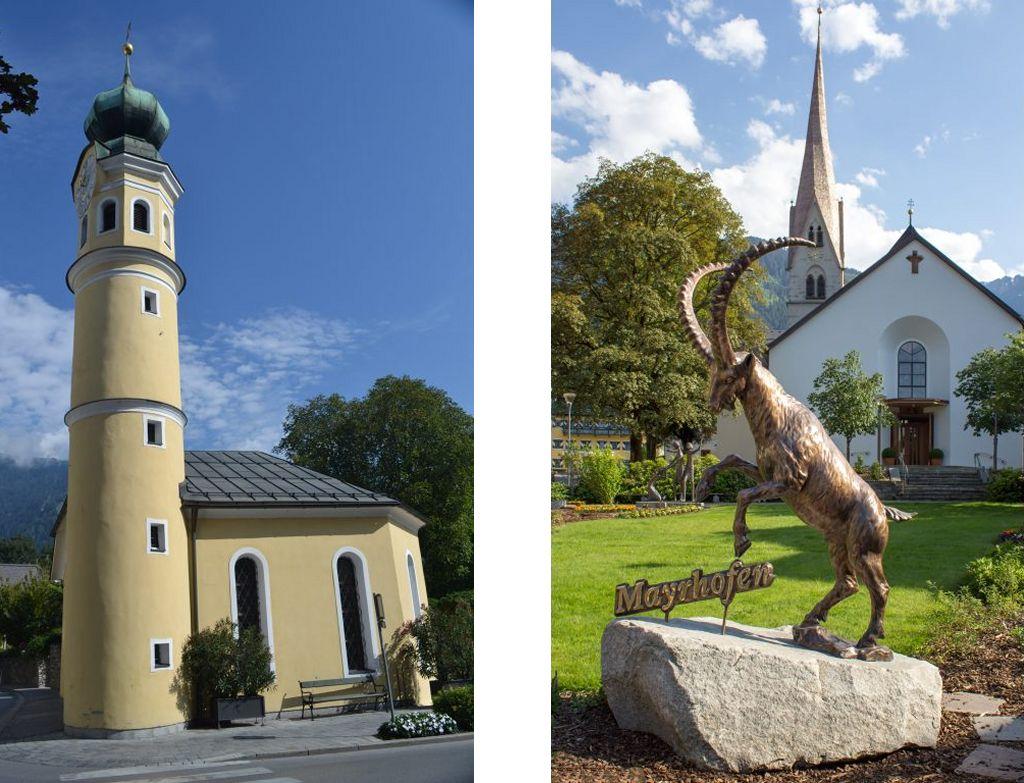Bild zeigt: Lienz - Antoniuskirche und Mayrhofen - Wahrzeichen