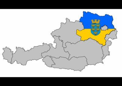 Niederösterreich auf Österreichkarte mit Landesfarben und Wappen