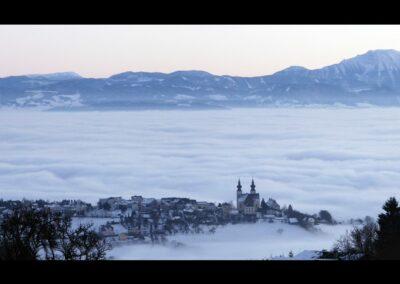 Niederösterreich - Maria Taferl - Gemeinde Maria Taferl im Nebel