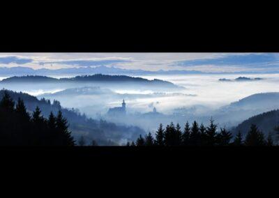 Oberösterreich - Waldhausen - Abendnebel über Waldhausen