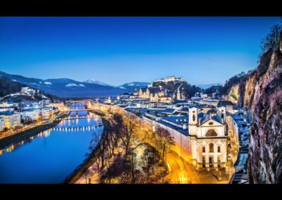 Sbg - Salzburg - Panoramablick in der Abenddämmerung