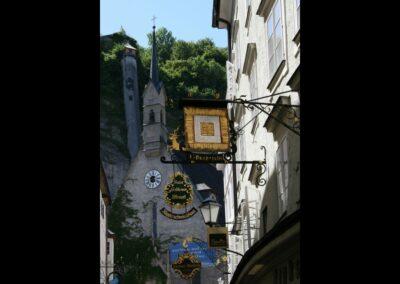 Sbg - Salzburg - Schild vom Hotel Goldener Hirsch