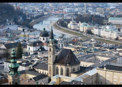 Sbg - Salzburg - Stadtansicht mit Franziskanerkirch