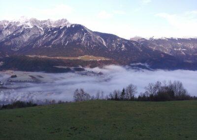 Tirol - Vomp - Nebel über der Gemeinde