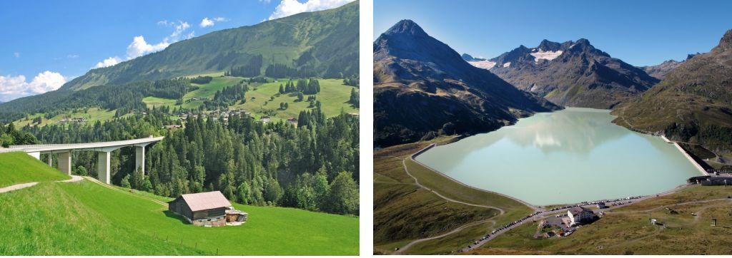 Bild zeigt: Blick ins Kleinwalsertal und Silvretta Stausee